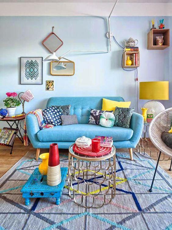 déco exotique murs bleus pastels